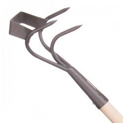 Griffe à 3 dents avec grattoir pour biner, aérer et désherber.