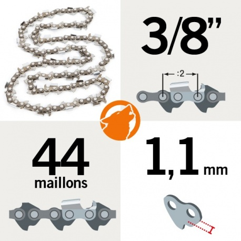 "Chaîne KERWOOD 44 maillons 3/8"",1,1mm"