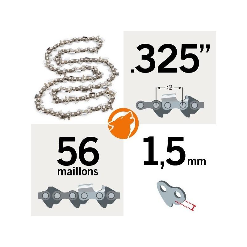 "Chaîne KERWOOD 56 maillons 0.325"" , 1,5 mm"