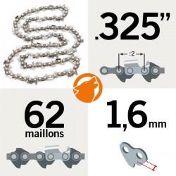 "Chaîne KERWOOD 62 maillons 0.325"" , 1,6mm"