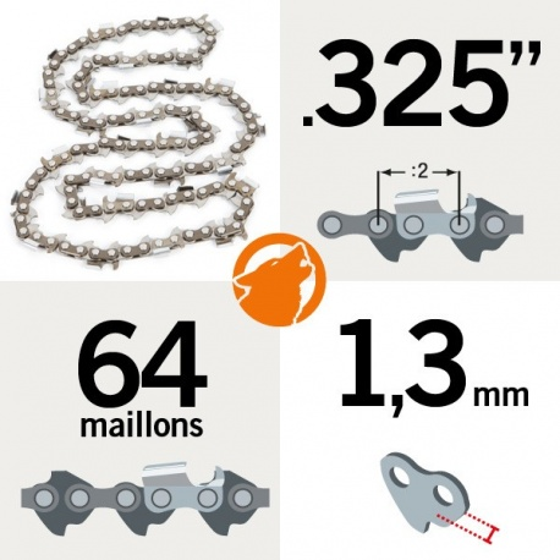 "Chaîne KERWOOD 64 maillons 0.325"", 1,3mm"