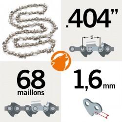 "Chaîne KERWOOD 68 maillons 0.404"", 1,6mm"