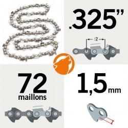 "Chaîne KERWOOD 72 maillons 0.325"" , 1,5mm"