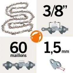 """Chaîne pour KERWOOD 60 maillons 3/8"""", 1,5mm"""