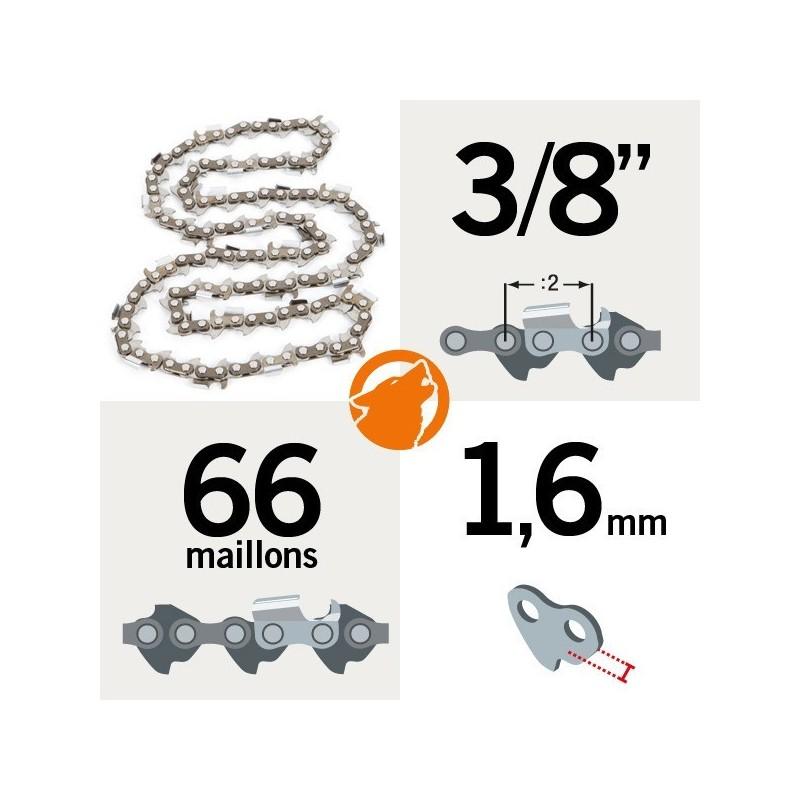"""Chaîne pour KERWOOD 66 maillons 3/8"""" , 1,6mm"""