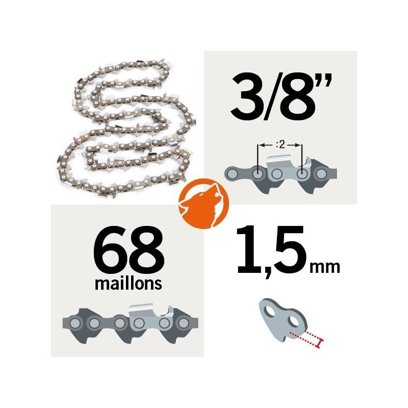 """Chaîne pour KERWOOD 68 maillons 3/8"""",1,5mm"""