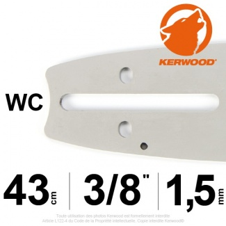 "Guide tronçonneuse Kerwood. 43cm. 3/8"". 1,5 mm. 17A3KSWC"