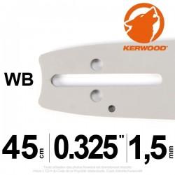 "Guide tronçonneuse KERWOOD 45cm 0.325"" 1.5 mm. 18C3KSWB"