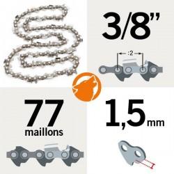 """Chaîne tronçonneuse KERWOOD 77 maillons 3/8"""", 1,5mm"""