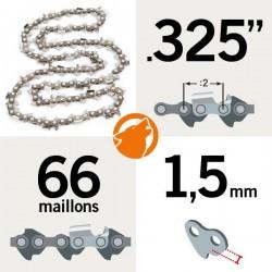 """Chaîne tronçonneuse KERWOOD 66 maillons 0.325"""", 1,5mm"""