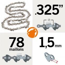 """Chaîne tronçonneuse KERWOOD 78 maillons 0.325"""", 1,5mm"""