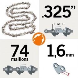 """Chaîne tronçonneuse KERWOOD 74 maillons 0.325"""", 1,5mm"""