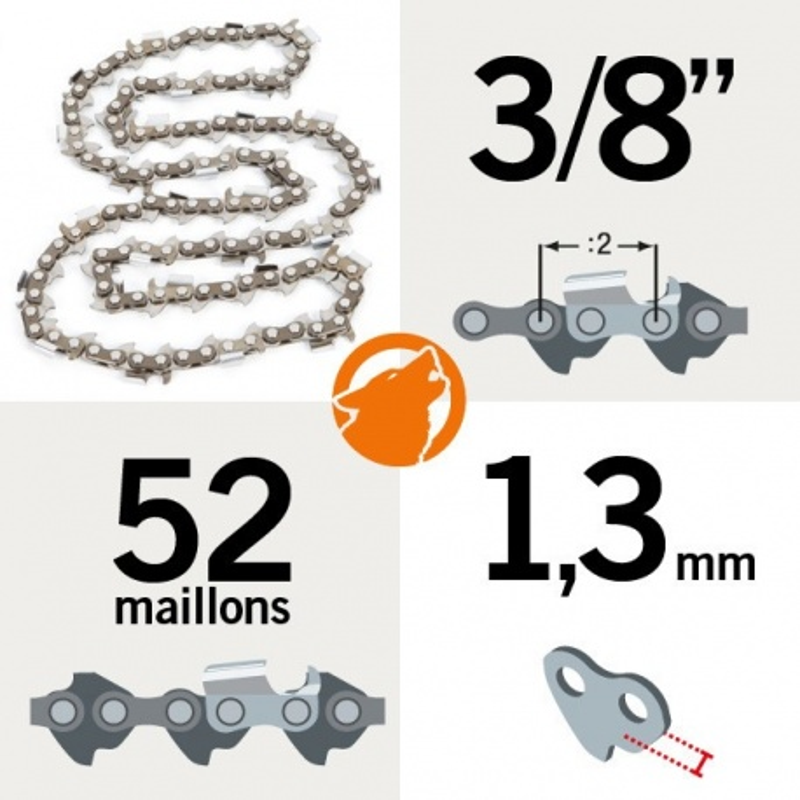 """Chaîne tronçonneuse KERWOOD 52 maillons 3/8"""", 1,3mm"""