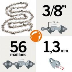 """Chaîne tronçonneuse KERWOOD 56 maillons 3/8"""", 1,3mm"""