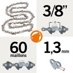 """Chaîne tronçonneuse KERWOOD 60 maillons 3/8"""", 1,3mm"""