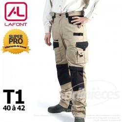 Pantalon tissu léger Beige / Noir taille 1