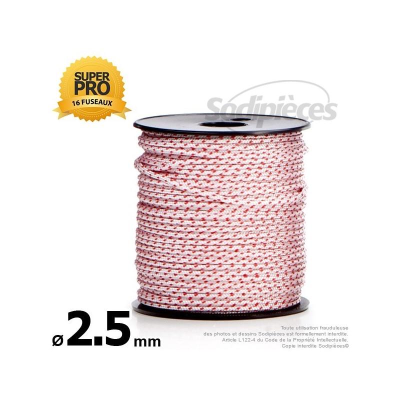 Corde de lanceur Ø 2,5 mm x 100 m. Cordon 16 fuseaux nylon.
