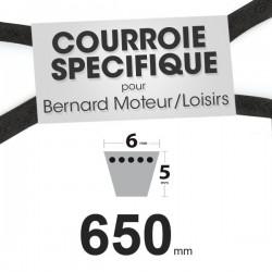 Courroie Spécifique Bernard Moteur 2748. 6 mm x 650 mm.