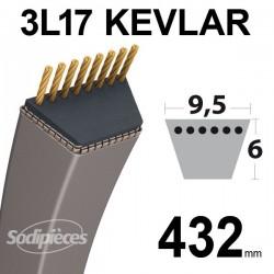 Courroie 3L17 Kevlar Trapézoïdale. 9,5 mm x 432 mm.