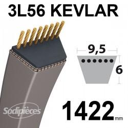 Courroie 3L56 Kevlar Trapézoïdale. 9,5 mm x 1422 mm.