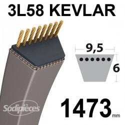Courroie 3L58 Kevlar Trapézoïdale. 9,5 mm x 1473 mm.