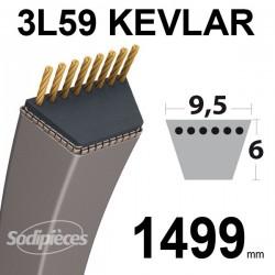 Courroie 3L59 Kevlar Trapézoïdale. 9,5 mm x 1499 mm.