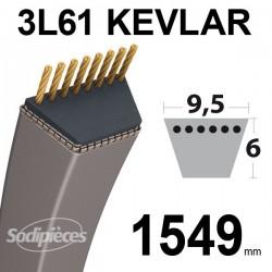 Courroie 3L61 Kevlar Trapézoïdale. 9,5 mm x 1549 mm.