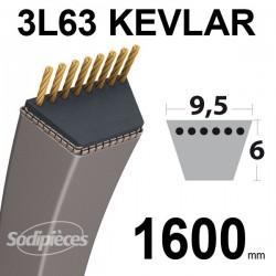 Courroie 3L63 Kevlar Trapézoïdale. 9,5 mm x 1600 mm.
