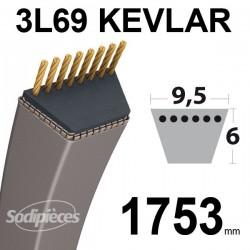 Courroie 3L69 Kevlar Trapézoïdale. 9,5 mm x 1753 mm.