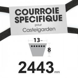 Courroie spécifique Castelgarden 35062001/0. 13 mm x 2443 mm.