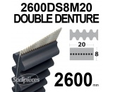 Courroie 2600DS8M20 Double denture. 20 mm x 2600 mm.