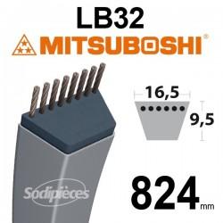 Courroie LB32 Mitsuboshi. 16,5 mm x 824 mm.