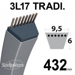 Courroie 3L170 Traditionnelle Trapézoïdale. 9,5 mm x 432 mm.