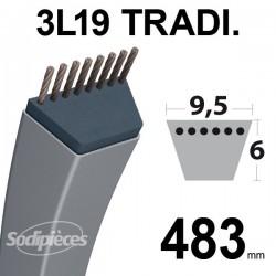 Courroie 3L190 Traditionnelle Trapézoïdale. 9,5 mm x 483 mm.