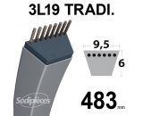 Courroie 3L190 Traditionnelle Trapézoïdale. 9,5 mm x 483 mm.