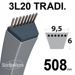Courroie 3L200 Traditionnelle Trapézoïdale. 9,5 mm x 508 mm.