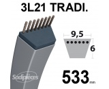 Courroie 3L210 Traditionnelle Trapézoïdale. 9,5 mm x 533 mm.
