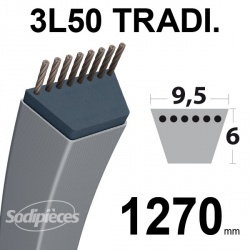 Courroie 3L500 Traditionnelle Trapézoïdale. 9,5 mm x 1270 mm.