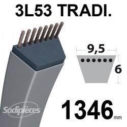 Courroie 3L530 Traditionnelle Trapézoïdale. 9,5 mm x 1346 mm.
