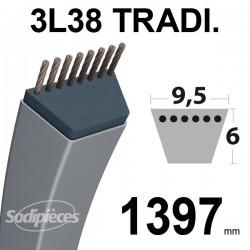 Courroie 3L550 Traditionnelle Trapézoïdale. 9,5 mm x 1397 mm.
