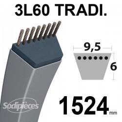 Courroie 3L600 Traditionnelle Trapézoïdale. 9,5 mm x 1524 mm.