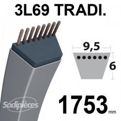 Courroie 3L690 Traditionnelle Trapézoïdale. 9,5 mm x 1753 mm.