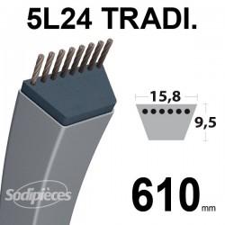 Courroie 5L24 Traditionnelle Trapézoïdale. 15,8 mm x 610 mm.