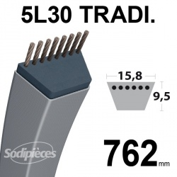 Courroie 5L300 Traditionnelle Trapézoïdale. 15,8 mm x 762 mm.
