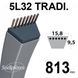 Courroie 5L320 Traditionnelle Trapézoïdale. 15,8 mm x 813 mm.
