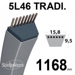 Courroie 5L460 Traditionnelle Trapézoïdale. 15,8 mm x 1168 mm.