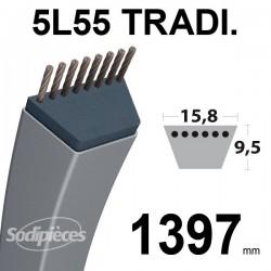 Courroie 5L550 Traditionnelle Trapézoïdale. 15,8 mm x 1397 mm.