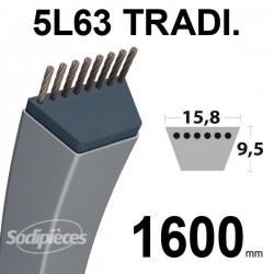 Courroie 5L630 Traditionnelle Trapézoïdale. 15,8 mm x 1600 mm.