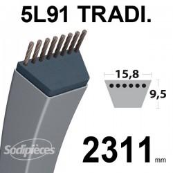 Courroie 5L910 Traditionnelle Trapézoïdale. 15,8 mm x 2311 mm.
