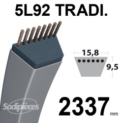 Courroie 5L920 Traditionnelle Trapézoïdale. 15,8 mm x 2337 mm.